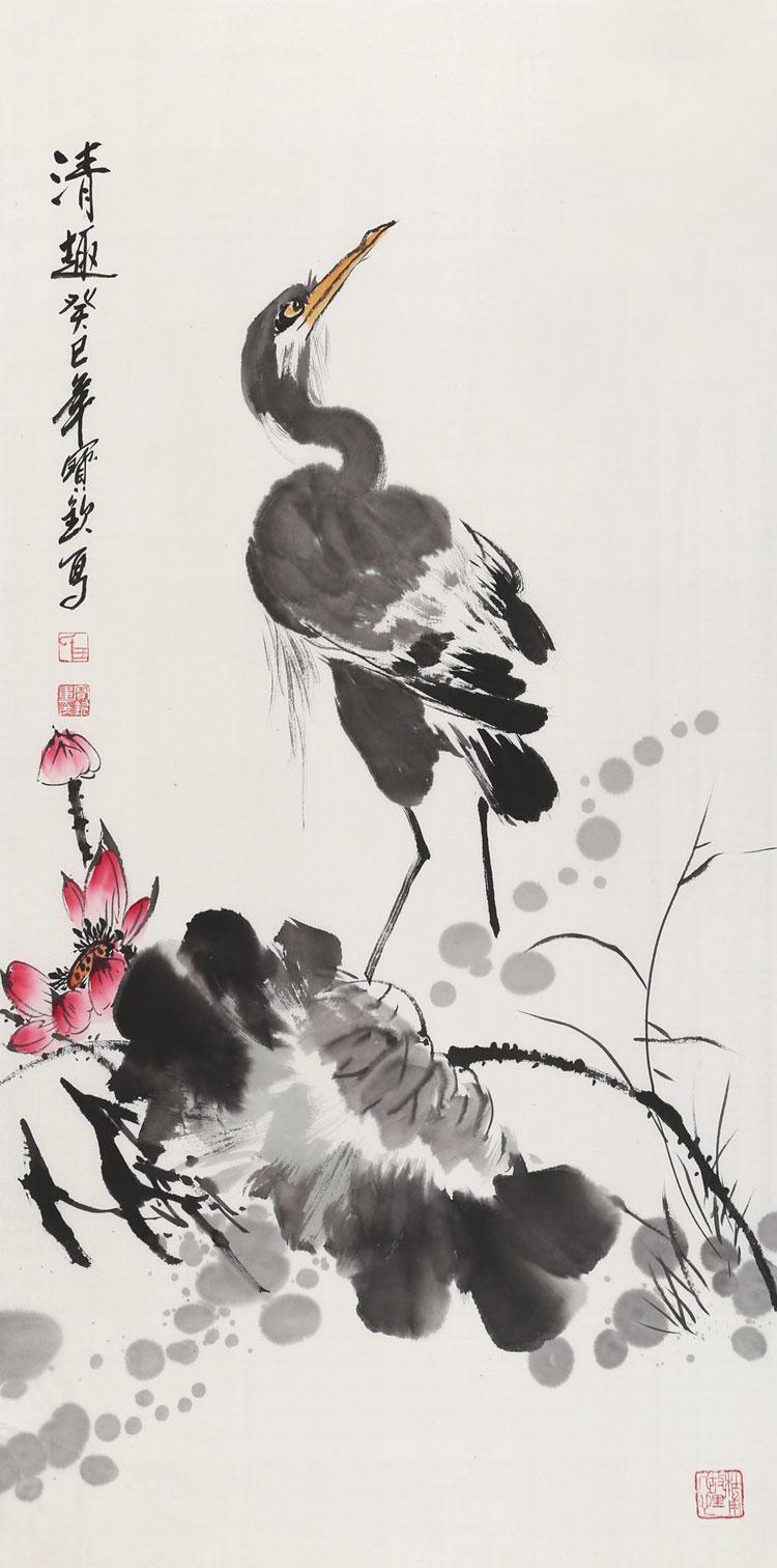 王宝钦 《清趣》 当代花鸟画名家 三尺国画仙鹤